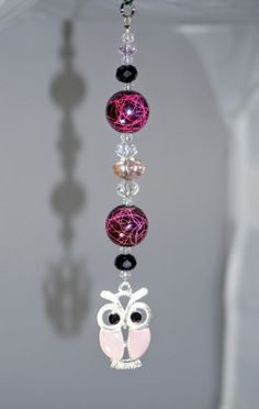 Light Pink, Silver and Pink, OWL Pendant, Crystal Rear View Mirror Charm, NEW
