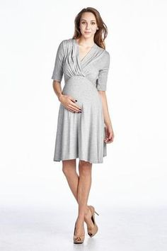 Shop our everyday maternity dresses for your maternity clothing wardrobe! We offer baby shower dresses, basic maternity dresses & maternity maxi dresses. Maternity Dresses For Baby Shower, Maternity Wear, Maternity Fashion, Short Dresses, Dresses For Work, Grey Tie, Tie Backs, Dress For You, Heather Grey