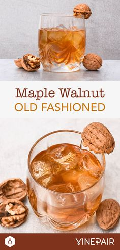 The Walnut & Maple Old Fashioned is a perfect sipping cocktail, especially during the holidays or when you're entertaining at home. Easy Drink Recipes, Best Cocktail Recipes, Yummy Drinks, Yummy Food, Crockpot Recipes, Cocktail And Mocktail, Fall Cocktails, Fall Drinks, Cocktail Ideas