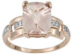 Cor-de-rosa Morganite 2.40ct Cushion With Round Diamond Accent 10k Rose Gold Ring