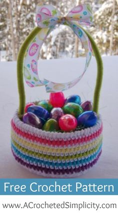 Free Crochet Pattern - Easy Easter Basket by A Crocheted Simplicity Red Heart Super Saver yarn Crochet Basket Tutorial, Crochet Basket Pattern, Easy Crochet Patterns, Free Crochet, Crochet Ideas, Crochet Baskets, Irish Crochet, Free Knitting, Knitting Patterns