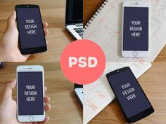 Photorealistic iPhone 6  Nexus 5 mockups