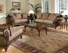 3pcs. Acme Fairfax Two Tone Upholstered Fabric Sofa Set
