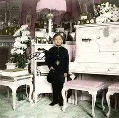 Tsarevich Alexei Nikolaevich Romanov in his mother's Mauve Room