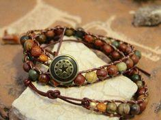 SALE Cimarron - Double Wrap Picasso Jasper Leather Bracelet by Leftovers4Dinner on Etsy