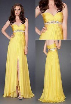 Vestido de noche amarillo fire
