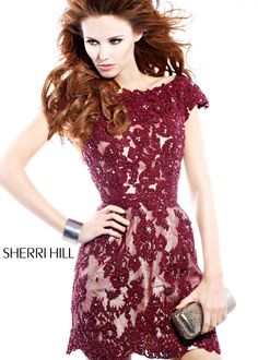 Sherri Hill 2941 - LOVE this new Red Wine Embroidered Cocktail Dress for the Holidays!