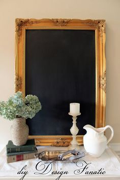 diy Design Fanatic: How To Make A Framed Chalkboard From A Mirror Picture Frame Chalkboard, Chalkboard Mirror, Make A Chalkboard, Chalkboard Ideas, Black Chalkboard, Ornate Mirror, Diy Mirror, Vintage Mirrors, Sunburst Mirror
