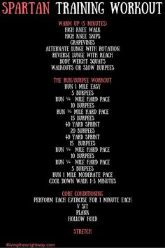 Spartan Race Training Workout, great training workout for a Spartan race or…