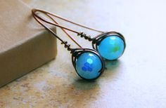 Copper Wire Wrapped Herringbone AB Blue by AllowingArtDesigns