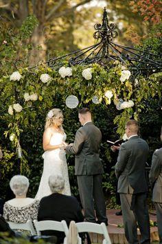 Bride and Groom At Outdoor Wedding Ceremony