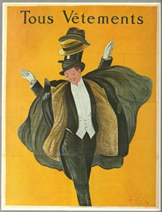 Vintage French HATS, CLOTHES, Columbia Music Advert poster by Cappiello - 1920s -man via Etsy