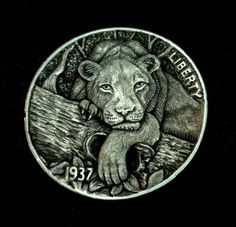 "Hobo Nickel  ""Bump On A Log"" Lion Lioness Cat by Howard Thomas"