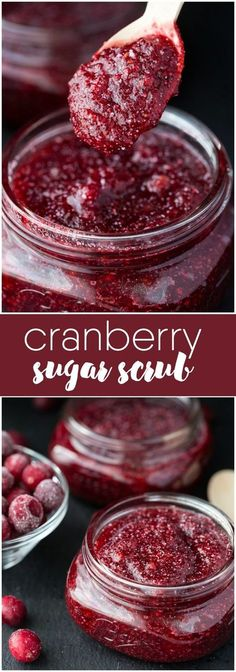 Sugar Scrub -Save some of those holiday cranberries in your freezer and use them in this simple DIY sugar scrub recipe!Cranberry Sugar Scrub -Save some of those holiday cranberries in your freezer and use them in this simple DIY sugar scrub recipe! Body Scrub Recipe, Diy Body Scrub, Sugar Scrub Recipe, Diy Scrub, Bath Scrub, Zucker Schrubben Diy, Diy Cosmetic, Sugar Scrub Homemade, Homemade Soaps