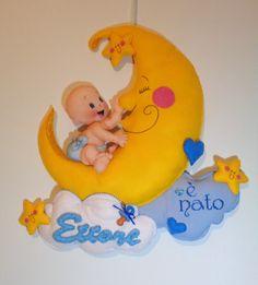 fiocco nascita bebè e luna azzurro
