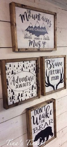 Set of 4 woodland nursery signs. The mountains are calling I must go. Be brave little man. Don't wake the bear. Rustic Set of 4 woodland nursery signs. The mountains are by TinasTinkers Baby Boy Rooms, Baby Boy Nurseries, Baby Room, Kids Rooms, Rustic Baby Nurseries, Room Boys, Baby Boy Nursery Themes, Babies Nursery, Boy Bedrooms