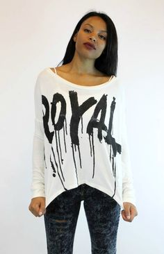 We think Lorde might love this super soft long sleeve top. Dripping the word ROYAL across your body might have everyone bowing down to your #streetstyle! (http://vampedboutique.com/the-royal-long-sleeve-top-junk-food/)