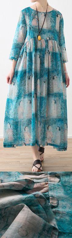 New light blue natural linen dress  oversized prints linen clothing dresses Elegant high waist dress5