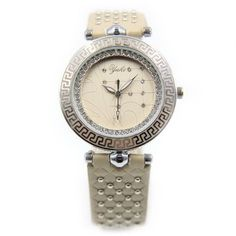 YAKI Design Uhren Modeuhr Analog Quarz Uhr Damen Damenarmbanduhr Leder Beige CTC1348-Y