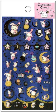 San-x Sentimental Circus Blue Moon Sticker Sheet