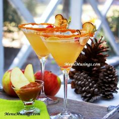 SALTED CARAMEL APPLETINIS =4 oz caramel vodka 4 oz green apple vodka 4 oz apple cider 1 oz praline (or caramel) syrup  garnishes caramel apple dip kosher salt cinnamon apple chips ===