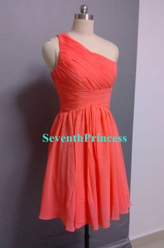 Coral Bridesmaid Dress, A-line One Shoulder Short Chiffon Bridesmaid Dress-080206