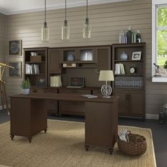 Shop For Kathy Ireland Coastal Cherry Office Volcano Dusk L Shaped Desk  With 3 Drawer Pedestal. Get Free Shipping At Overstock.com   Your Online Fuu2026
