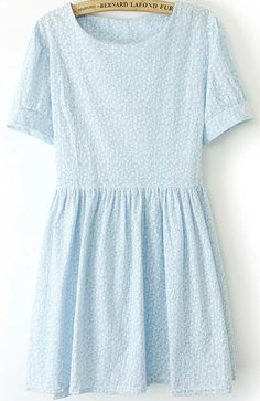 Short Sleeve Flower Print Blue Dress