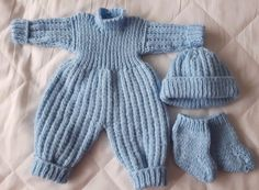 """Dolls #clothes new hand knitted 16"""" #blue,romper #suit,hat & booties,  View more on the LINK: http://www.zeppy.io/product/gb/2/282315765794/"""