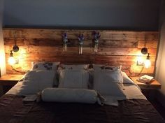 Pallet headboard with lights: