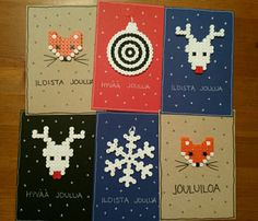 Christmas cards hama pearls