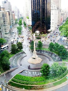 Columbus Circle, New York. I want to just sit there in the middle of July and take it all in. One of my favorite spots in all of New York