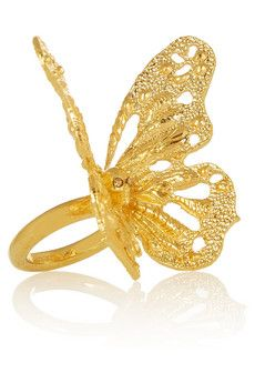 Alexander McQueen Gold-tone Swarovski crystal butterfly ring | NET-A-PORTER