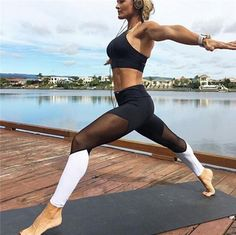 New Mesh Splice Sexy Running Tights Women Yoga Pants Gym Clothing for Women Yoga Leggings Fitness Pants Mallas Mujer Deportivas Mesh Workout Leggings, Mesh Insert Leggings, Mesh Yoga Pants, Workout Pants, Women's Leggings, Leggings Are Not Pants, Workout Wear, Legging Sport, Sport Pants
