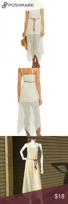 NWT! Cream Crochet Dress with Braided Skinny Belt Fun and flirty piece featuring an allover sheer lace look. Scoop neck maxi dress has a full length and a built-in slip. Modern sharkbite hem and adjustable shoulder straps. Size Medium 7/8 (juniors) Dresses Maxi