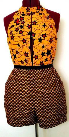 African Clothing: Sia Romper/Jumpsuit. This colorful romper with a plunging neckline will have you standing out at any party. Ankara   Dutch wax   Kente   Kitenge   Dashiki   African print bomber jacket   African fashion   Ankara bomber jacket   African prints   Nigerian style   Ghanaian fashion   Senegal fashion   Kenya fashion   Nigerian fashion   Ankara crop top (affiliate)
