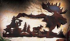 3D Rustic Northwoods Cabin Moose Metal Wall Art Pine Tree Woodland Lodge Decor | eBay