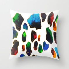 Decorative Pillow Cover - Geometric Gemstone Abstract Art - Throw Pillow Cushion - Home Decor