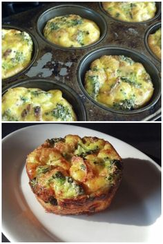 Crustless, Gluten-free mini-quiches! 7 eggs, and 1 tbsp milk Use either muffin or cupcake liners, or a lot of non-stick spray or butter in the pan. Pour whipped egg mix into cups, then add cut up bacon (pork or turkey), broccoli florets, and crumbled (goat) cheese (I used 2 oz). Top with chives or green onions and cook at 350 for 20-30 mins or until golden brown. About 110 cal each in a large muffin pan. This dish definitely fluffs up as it cooks, so don't try to fill up the cups!