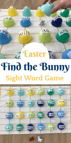 This Easter sight word recognition game is sure to capture your child's attention as they search under colorful eggs to find the bunny!