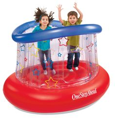 Kids will jump for hours on our soft, sturdy bouncer, and you won't find a higher safety enclosure anywhere! We made our jumper super rugged and resilient, with new, extra-stable walls, an easy-access porthole, and simple set-up. High-tech valves allow for quick inflation and deflation, while keeping air locked inside. Transparent walls permit at-a-glance supervision. Supports 2 kids, up to 120 lbs. total. For ages 2 and up. Inflates in 5 minutes with Electric Pump (sold separately) or 15…