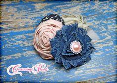 Navy Blush Headband Light Pink Blue Hair by CrowningPetals on Etsy, $15.75