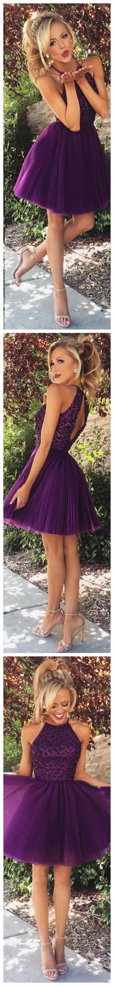 Purple High Neck open back homecoming dress,short prom dress