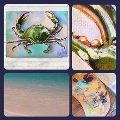 Coastal decor, coastal oil painting
