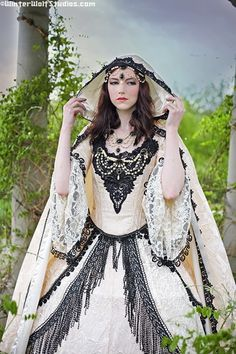 Pretty Gothic Set    This is a custom set, you choose pearl color, metal backings and stone color. This is a necklace, bodice jewelry and matching circlet/forhead piece. This works for dressing up medieval, renaissance, victorian gowns....wedding gowns, costumes, fairy gowns, etc.    You choose gold or silver backings, pearls can be white, ivory, cream or black...stones there are a ton of colors, just let us know what you are after...stones are acrylic and come in; crystal, white, ivory…