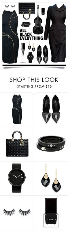"""""""Monochrome: All Black Everything!"""" by miss-image ❤ liked on Polyvore featuring Dolce&Gabbana, Versace, Kurt Geiger, Christian Dior, Waterford, Chanel, Alessi and Context"""