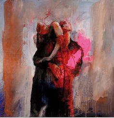 Christophe Hohler/ couple,    Mischtechnik,   130 x 130 cm