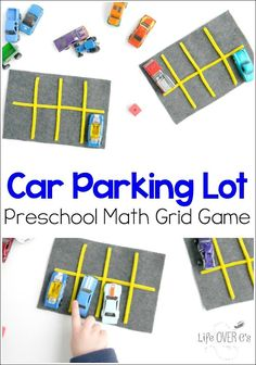 This parking lot grid game is a great way for kids to practice counting while playing with cars! Plus, lots of fun ideas for learning using small toys! Cars Preschool, Transportation Theme Preschool, Math Activities For Kids, Preschool Learning, Preschool Math Games, Transportation Activities For Preschoolers, Number Activities, Kindergarten Crafts, Toddler Preschool