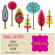 Forest Cross Stitch - Modern Cross Stitch Pattern - Bubble Gum Forest - PDF - Instant Download