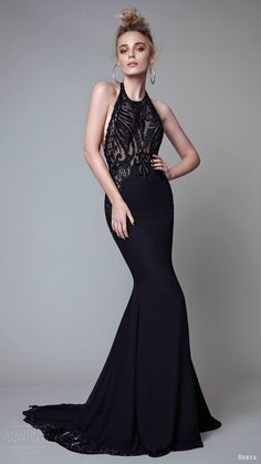 berta rtw fall 2017 (17 02) sleeveless halter neck sheath black evening dress mv